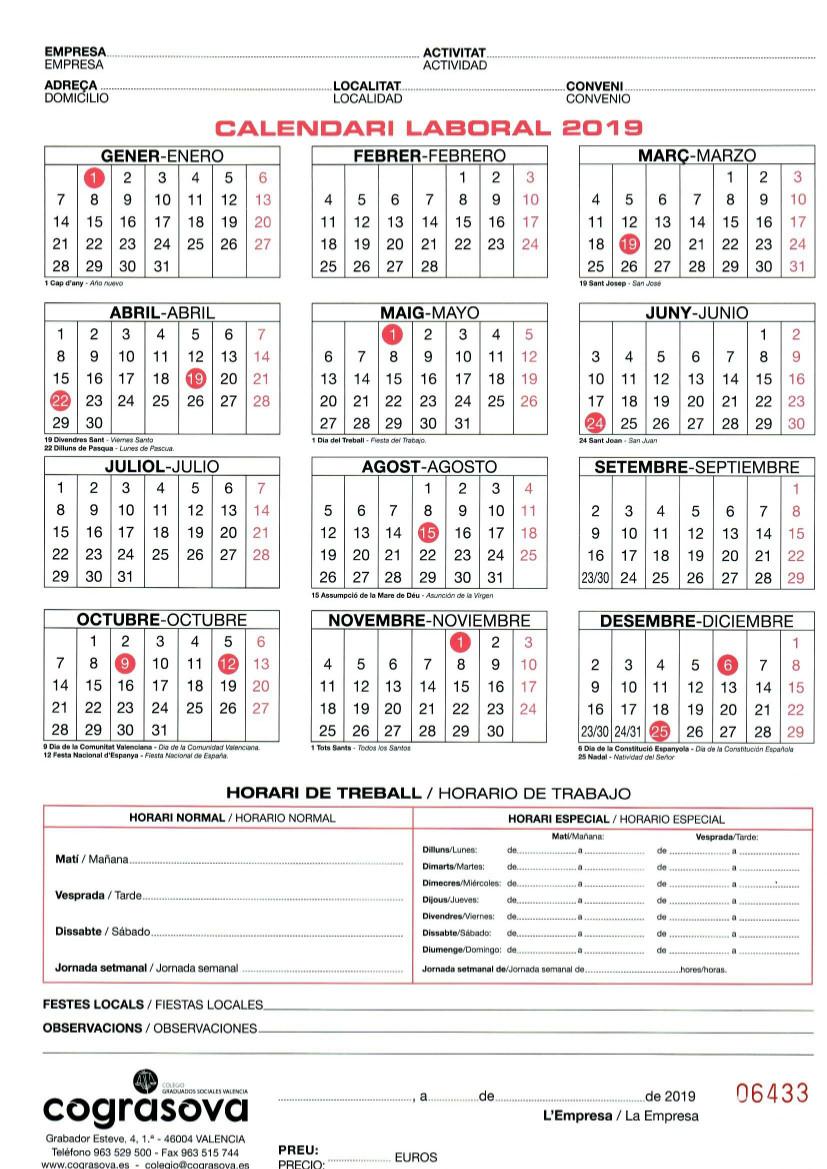 Calendario Laboral De Valencia.Calendario Laboral 2019 Aspaym Comunidad Valenciana